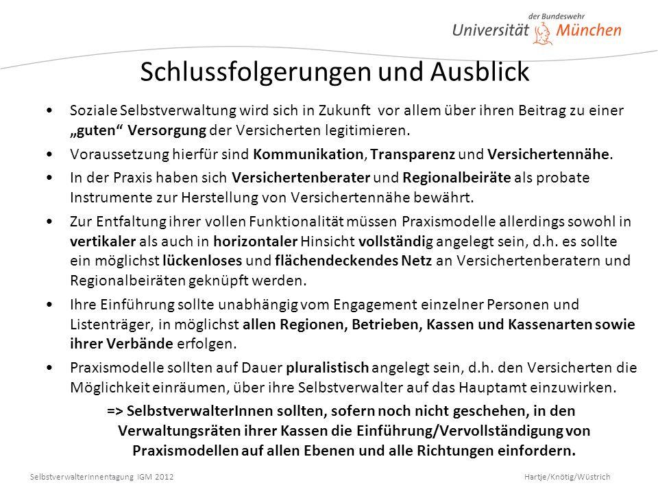 Hartje/Knötig/Wüstrich SelbstverwalterInnentagung IGM 2012 Schlussfolgerungen und Ausblick Soziale Selbstverwaltung wird sich in Zukunft vor allem übe