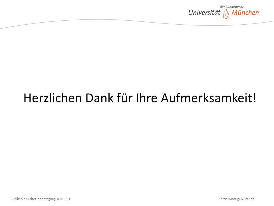 Hartje/Knötig/Wüstrich SelbstverwalterInnentagung IGM 2012 Herzlichen Dank für Ihre Aufmerksamkeit!
