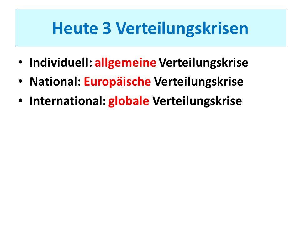 Heute 3 Verteilungskrisen Individuell: allgemeine Verteilungskrise National: Europäische Verteilungskrise International: globale Verteilungskrise