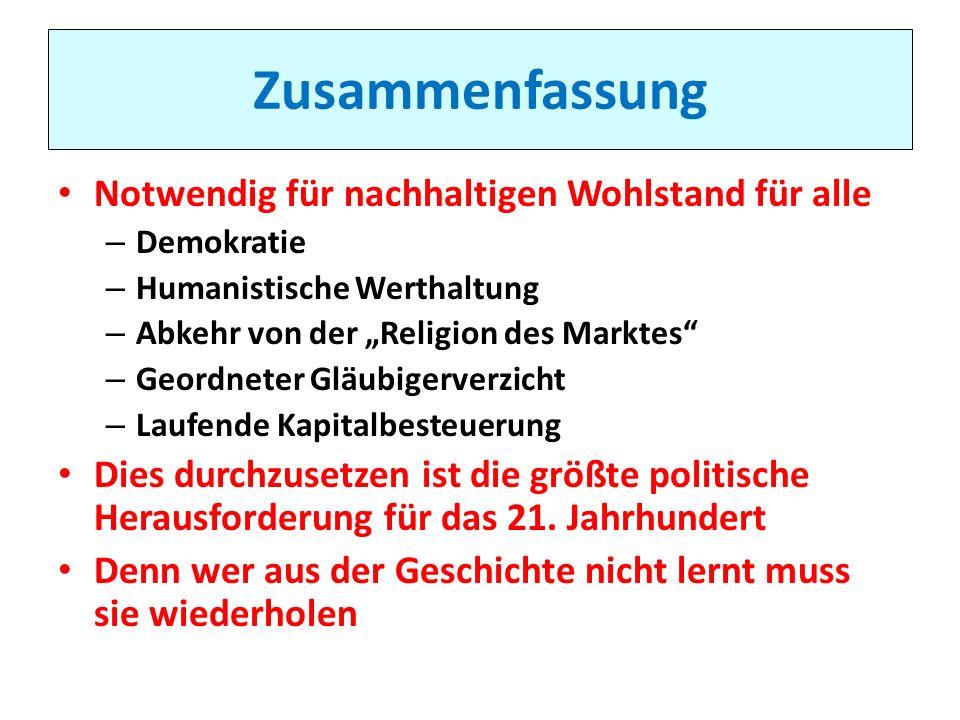 Zusammenfassung Notwendig für nachhaltigen Wohlstand für alle – Demokratie – Humanistische Werthaltung – Abkehr von der Religion des Marktes – Geordne
