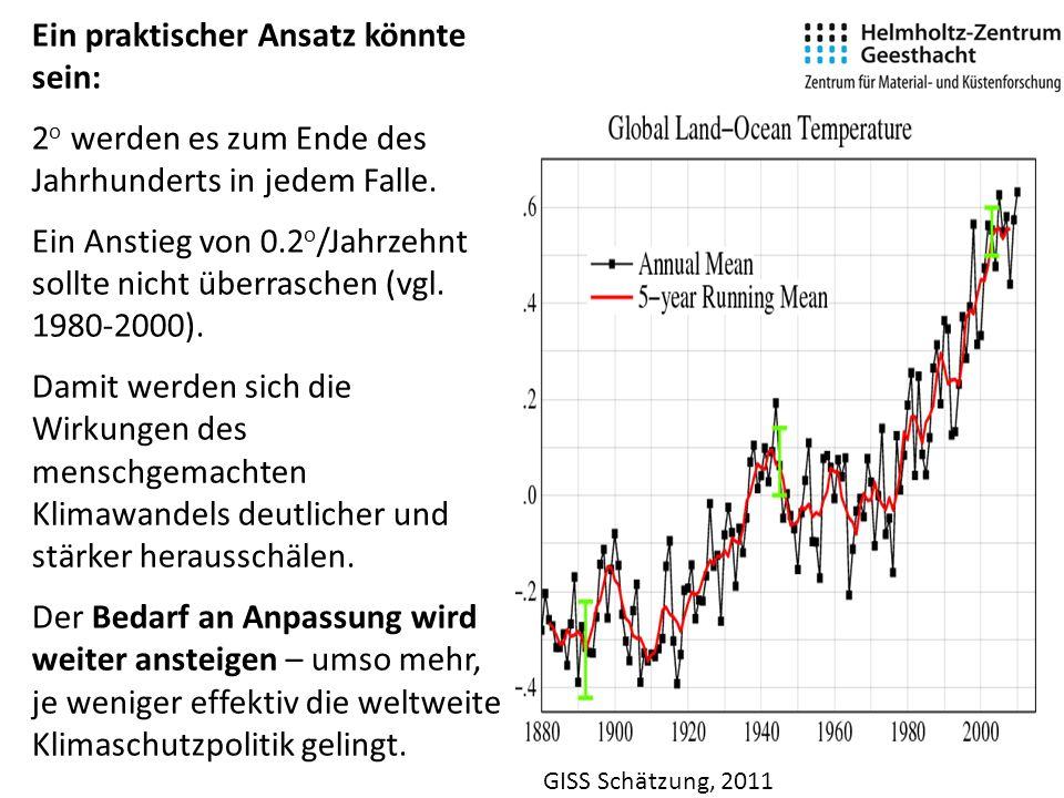 GISS Schätzung, 2011 Ein praktischer Ansatz könnte sein: 2 o werden es zum Ende des Jahrhunderts in jedem Falle.