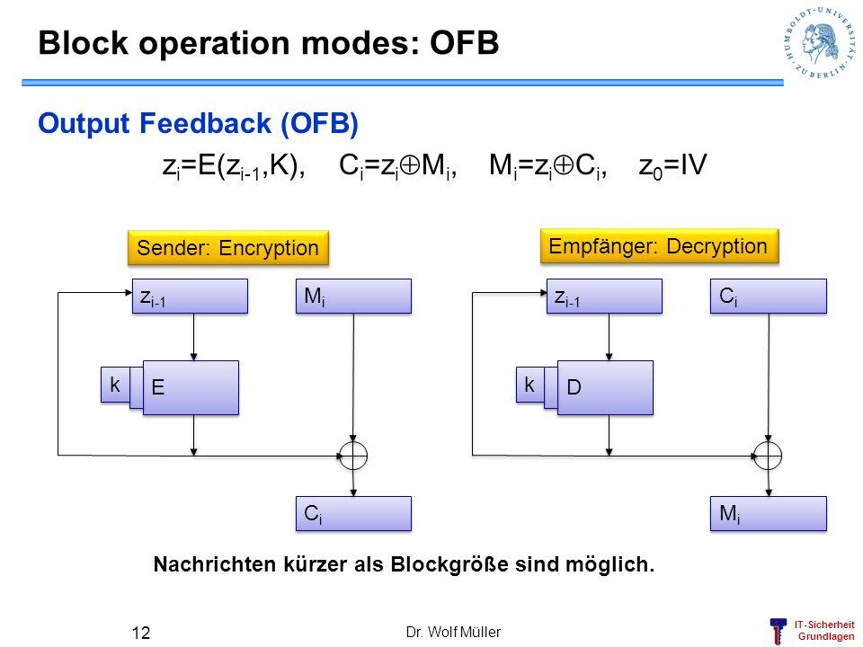 IT-Sicherheit Grundlagen Dr. Wolf Müller 12 Block operation modes: OFB Output Feedback (OFB) z i =E(z i-1,K), C i =z i M i, M i =z i C i, z 0 =IV z i-