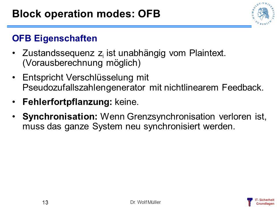 IT-Sicherheit Grundlagen Dr. Wolf Müller 13 Block operation modes: OFB OFB Eigenschaften Zustandssequenz z i ist unabhängig vom Plaintext. (Vorausbere