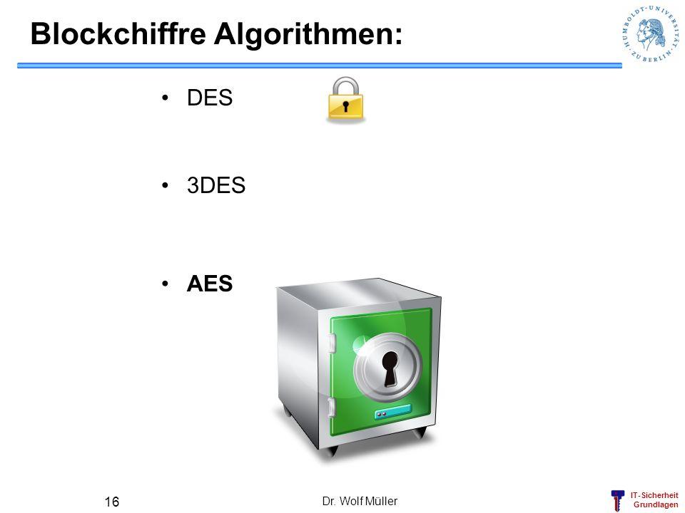 IT-Sicherheit Grundlagen Blockchiffre Algorithmen: DES 3DES AES Dr. Wolf Müller 16