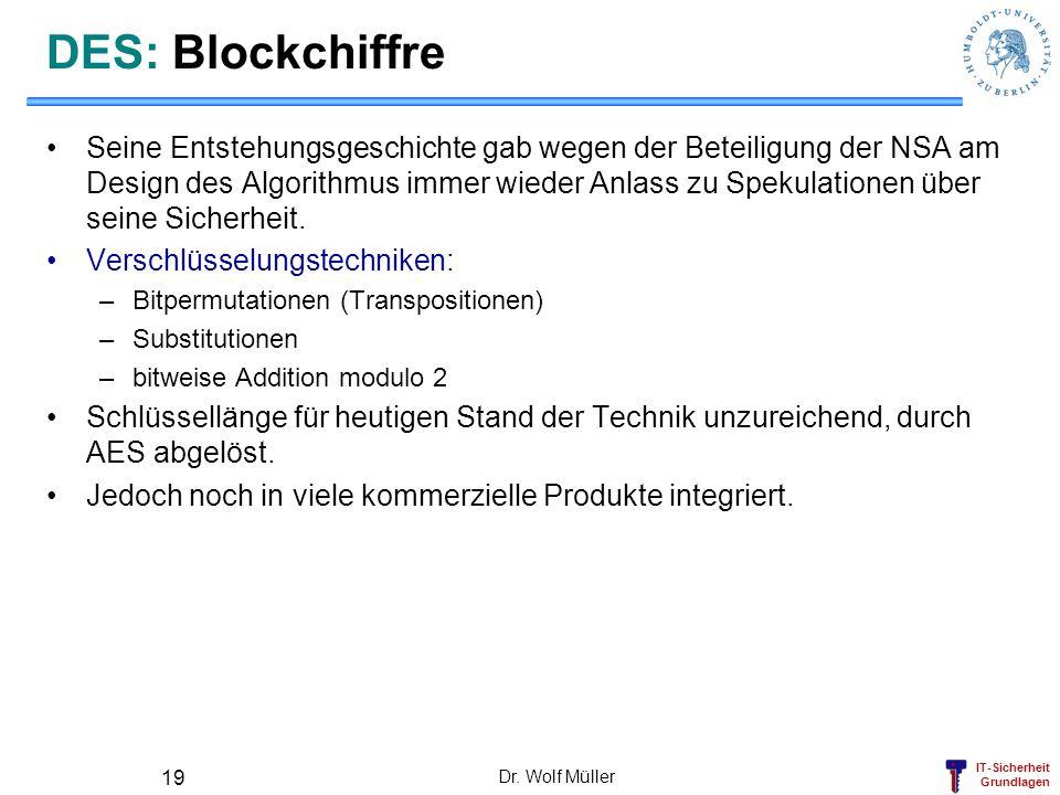 IT-Sicherheit Grundlagen Dr. Wolf Müller 19 DES: Blockchiffre Seine Entstehungsgeschichte gab wegen der Beteiligung der NSA am Design des Algorithmus