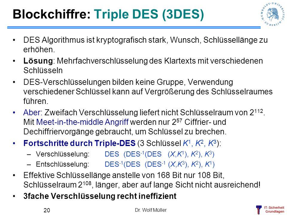 IT-Sicherheit Grundlagen Dr. Wolf Müller 20 Blockchiffre: Triple DES (3DES) DES Algorithmus ist kryptografisch stark, Wunsch, Schlüssellänge zu erhöhe