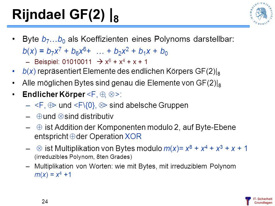 IT-Sicherheit Grundlagen Rijndael GF(2) | 8 Byte b 7 …b 0 als Koeffizienten eines Polynoms darstellbar: b(x) = b 7 x 7 + b 6 x 6 + … + b 2 x 2 + b 1 x