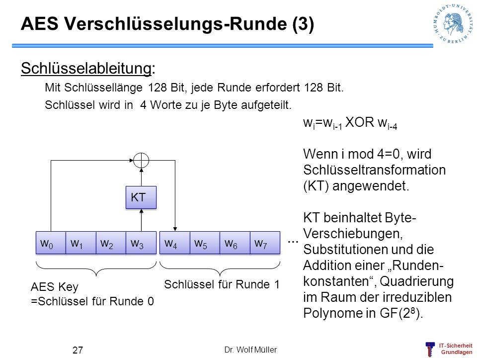 IT-Sicherheit Grundlagen Dr. Wolf Müller 27 AES Verschlüsselungs-Runde (3) Schlüsselableitung: Mit Schlüssellänge 128 Bit, jede Runde erfordert 128 Bi