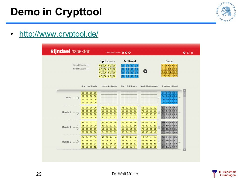 IT-Sicherheit Grundlagen Demo in Crypttool http://www.cryptool.de/ Dr. Wolf Müller 29