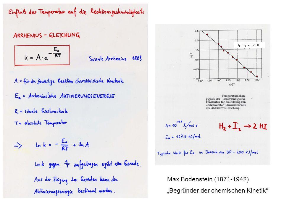 Deutung der Arrhenius-Gleichung für eine bimolekulare Reaktion Nicht alle Zusammenstöße führen zur Reaktion, sondern nur die Zusammenstöße besonders energiereicher Moleküle.