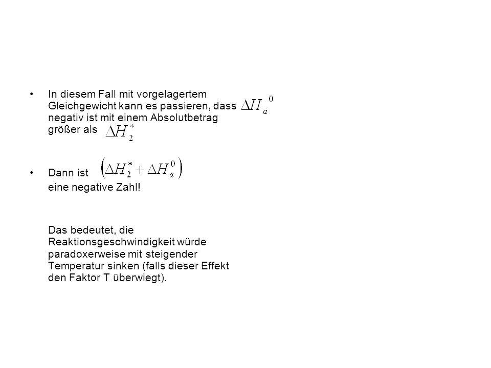 Beispiel 2 Die intermediäre Verbindung I bildet sich in einem vorgelagerten Gleichgewicht