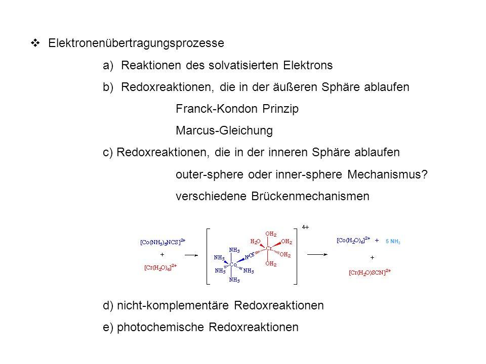 Substitutionsreaktionen bei Übergangsmetallkomplexen a)Molekularität b)Ligandensubstitution bei oktaedrischen Komplexen dissoziativer Mechanismus Stereochemie c) Ligandensubstitution bei quadratisch-planaren Komplexen assozativer Mechanismus trans-Effekt d) Reaktionen, die zu einer Änderung der Koordinationszahl führen