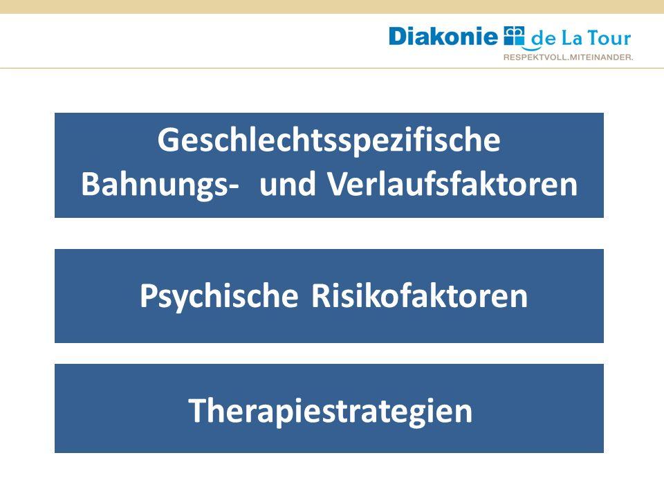 Psychische Risikofaktoren Geschlechtsspezifische Bahnungs- und Verlaufsfaktoren Therapiestrategien