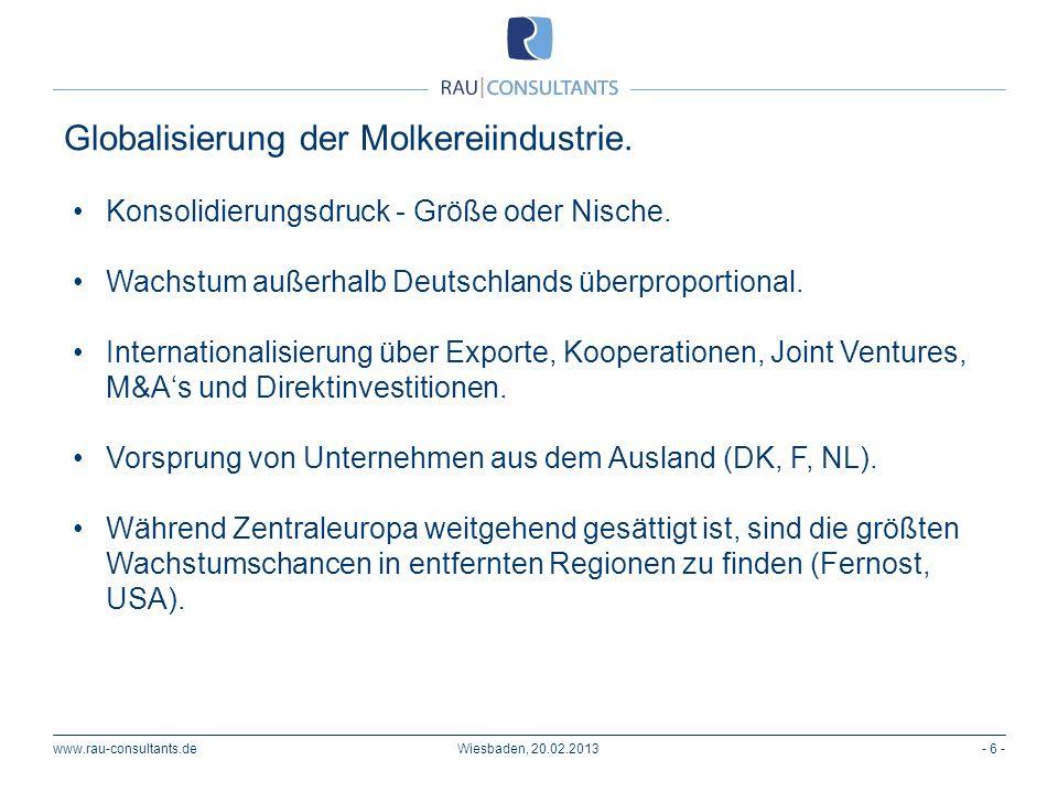 Globalisierung der Molkereiindustrie. www.rau-consultants.de- 6 -Wiesbaden, 20.02.2013 Konsolidierungsdruck - Größe oder Nische. Wachstum außerhalb De