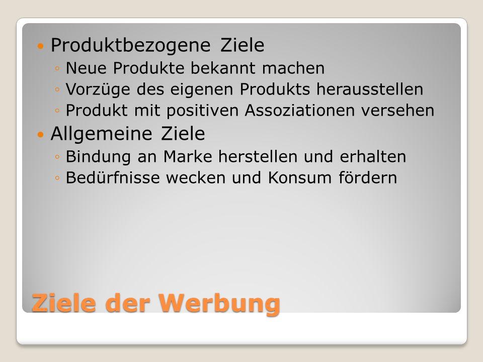 Ziele der Werbung Produktbezogene Ziele Neue Produkte bekannt machen Vorzüge des eigenen Produkts herausstellen Produkt mit positiven Assoziationen ve