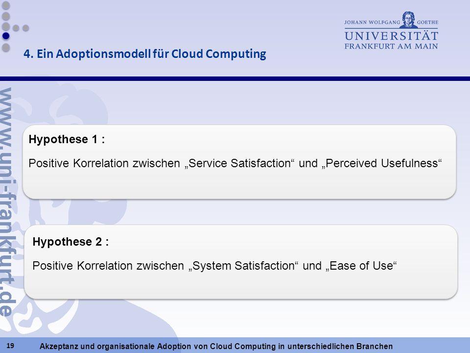 Akzeptanz und organisationale Adoption von Cloud Computing in unterschiedlichen Branchen 19 4. Ein Adoptionsmodell für Cloud Computing Hypothese 2 : P