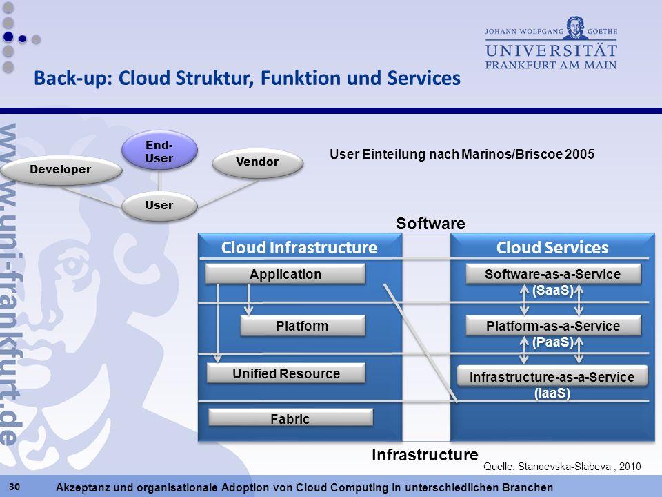 Akzeptanz und organisationale Adoption von Cloud Computing in unterschiedlichen Branchen 30 Cloud Services Cloud Infrastructure Application Platform U