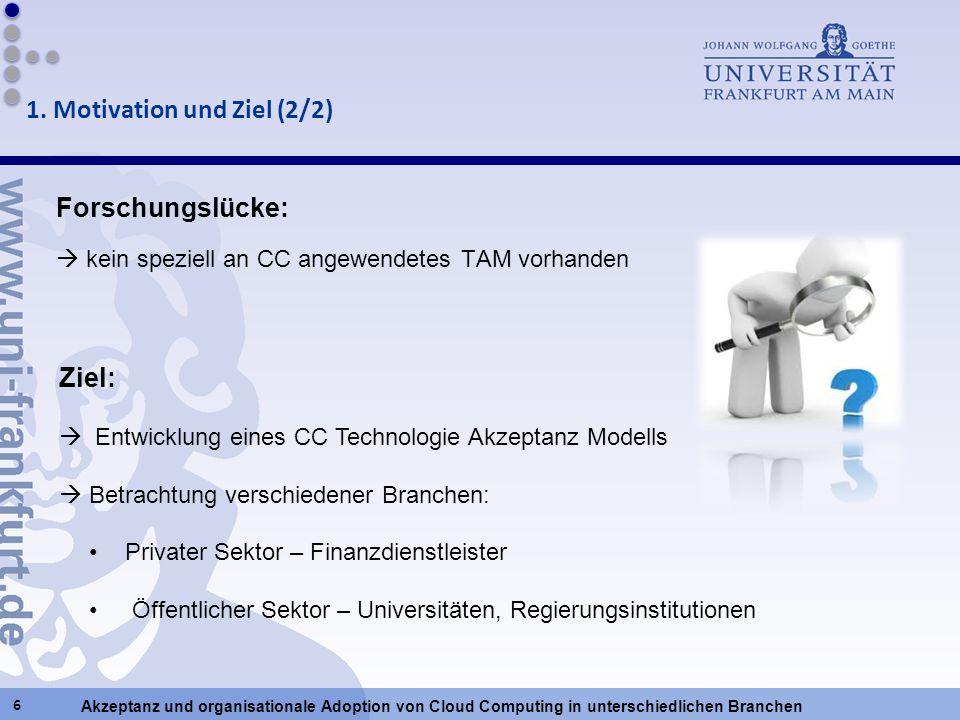 Akzeptanz und organisationale Adoption von Cloud Computing in unterschiedlichen Branchen Forschungslücke: kein speziell an CC angewendetes TAM vorhand