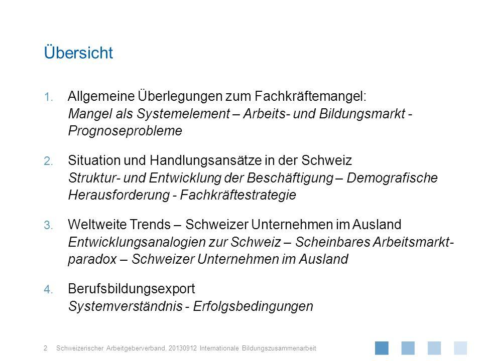 Schweizerischer Arbeitgeberverband, 1. Allgemeine Überlegungen zum Fachkräftemangel: Mangel als Systemelement – Arbeits- und Bildungsmarkt - Prognosep