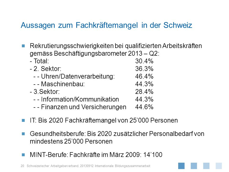 Schweizerischer Arbeitgeberverband, Rekrutierungsschwierigkeiten bei qualifizierten Arbeitskräften gemäss Beschäftigungsbarometer 2013 – Q2: - Total:3