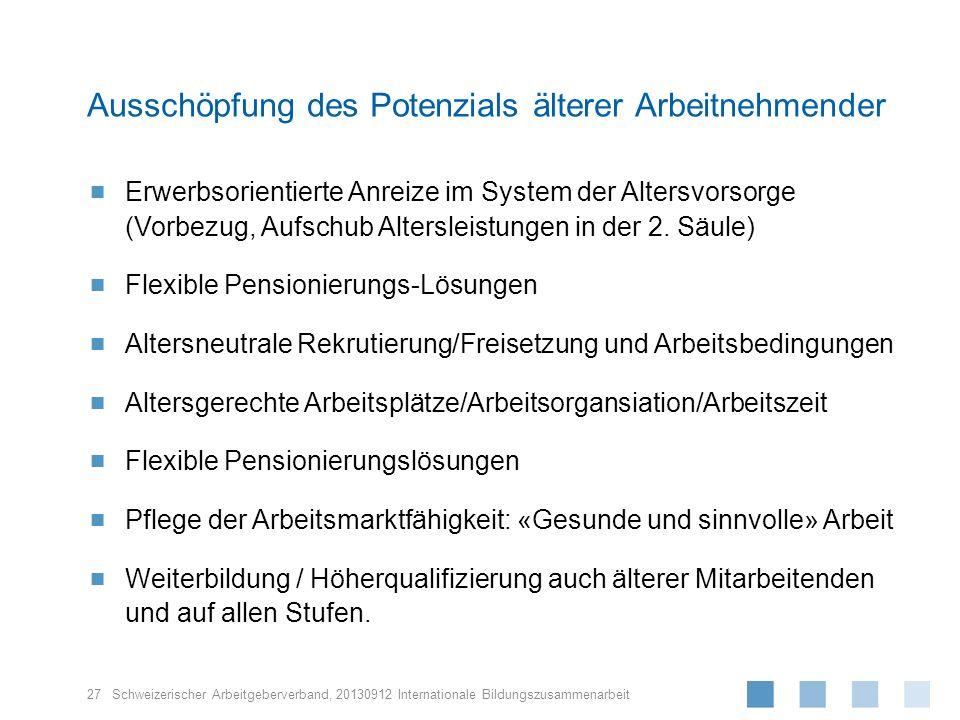 Schweizerischer Arbeitgeberverband, Erwerbsorientierte Anreize im System der Altersvorsorge (Vorbezug, Aufschub Altersleistungen in der 2. Säule) Flex