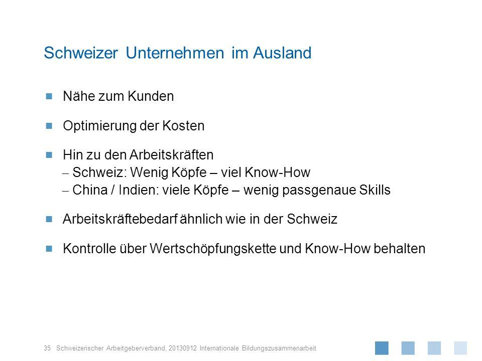 Schweizerischer Arbeitgeberverband, Nähe zum Kunden Optimierung der Kosten Hin zu den Arbeitskräften Schweiz: Wenig Köpfe – viel Know-How China / Indi