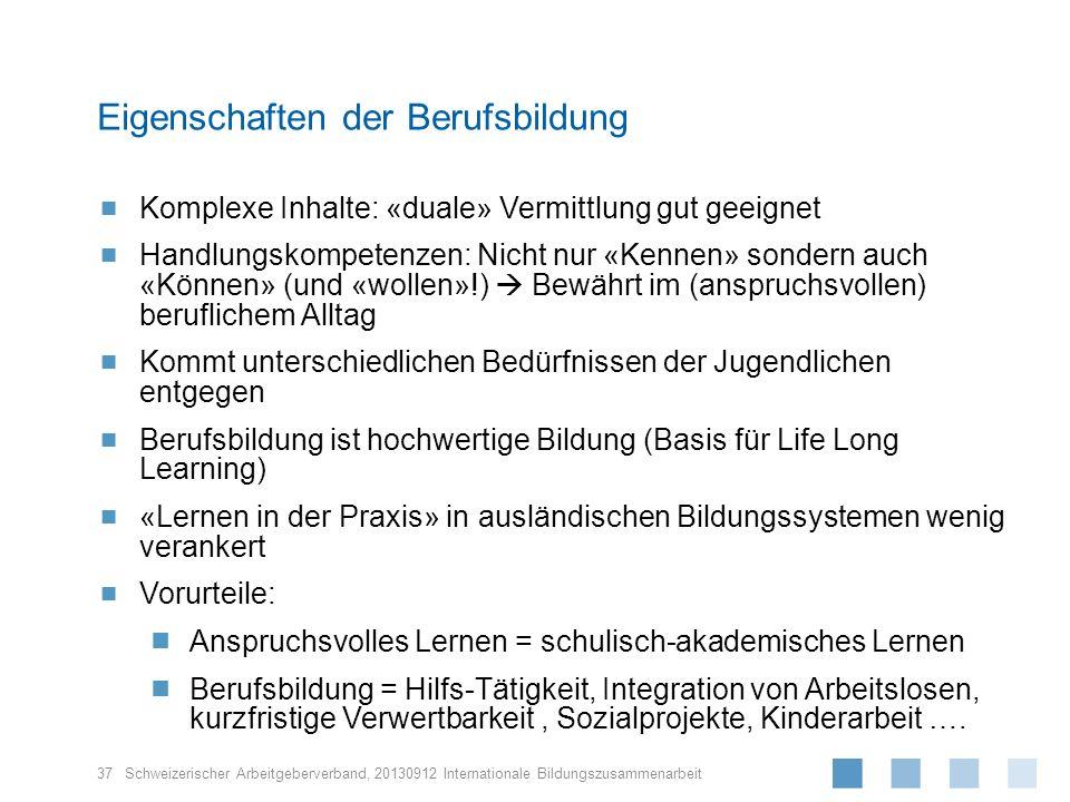 Schweizerischer Arbeitgeberverband, Komplexe Inhalte: «duale» Vermittlung gut geeignet Handlungskompetenzen: Nicht nur «Kennen» sondern auch «Können»