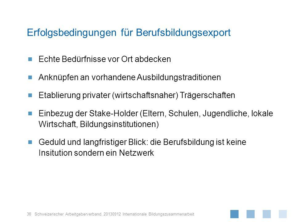 Schweizerischer Arbeitgeberverband, Echte Bedürfnisse vor Ort abdecken Anknüpfen an vorhandene Ausbildungstraditionen Etablierung privater (wirtschaft