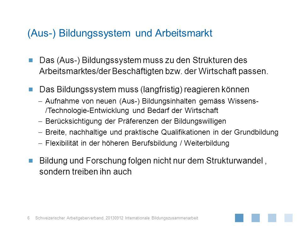 Schweizerischer Arbeitgeberverband, Das (Aus-) Bildungssystem muss zu den Strukturen des Arbeitsmarktes/der Beschäftigten bzw. der Wirtschaft passen.