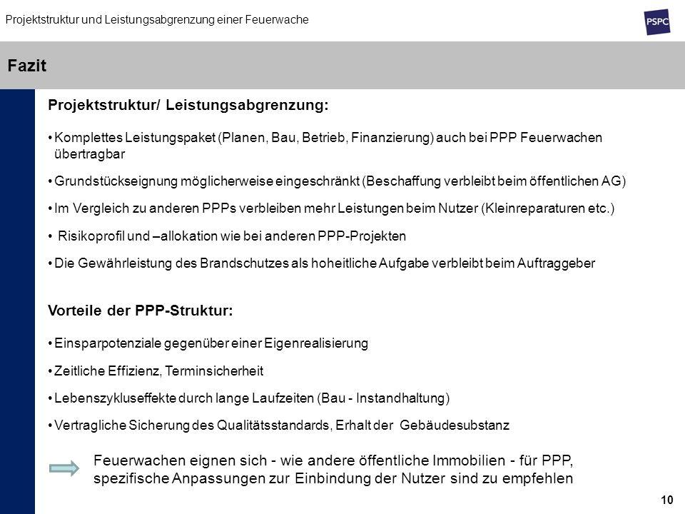 10 Fazit Projektstruktur und Leistungsabgrenzung einer Feuerwache Projektstruktur/ Leistungsabgrenzung: Komplettes Leistungspaket (Planen, Bau, Betrie