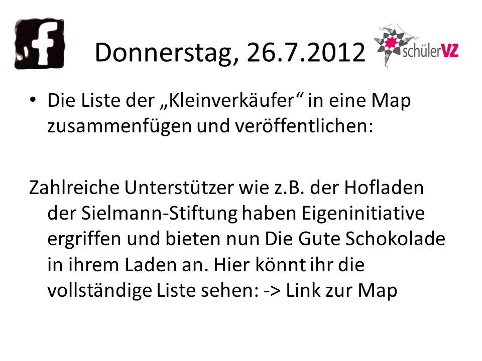 Die Liste der Kleinverkäufer in eine Map zusammenfügen und veröffentlichen: Zahlreiche Unterstützer wie z.B.
