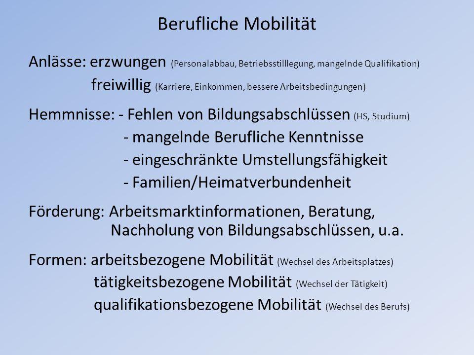 Berufliche Mobilität Anlässe: erzwungen (Personalabbau, Betriebsstilllegung, mangelnde Qualifikation) freiwillig (Karriere, Einkommen, bessere Arbeits