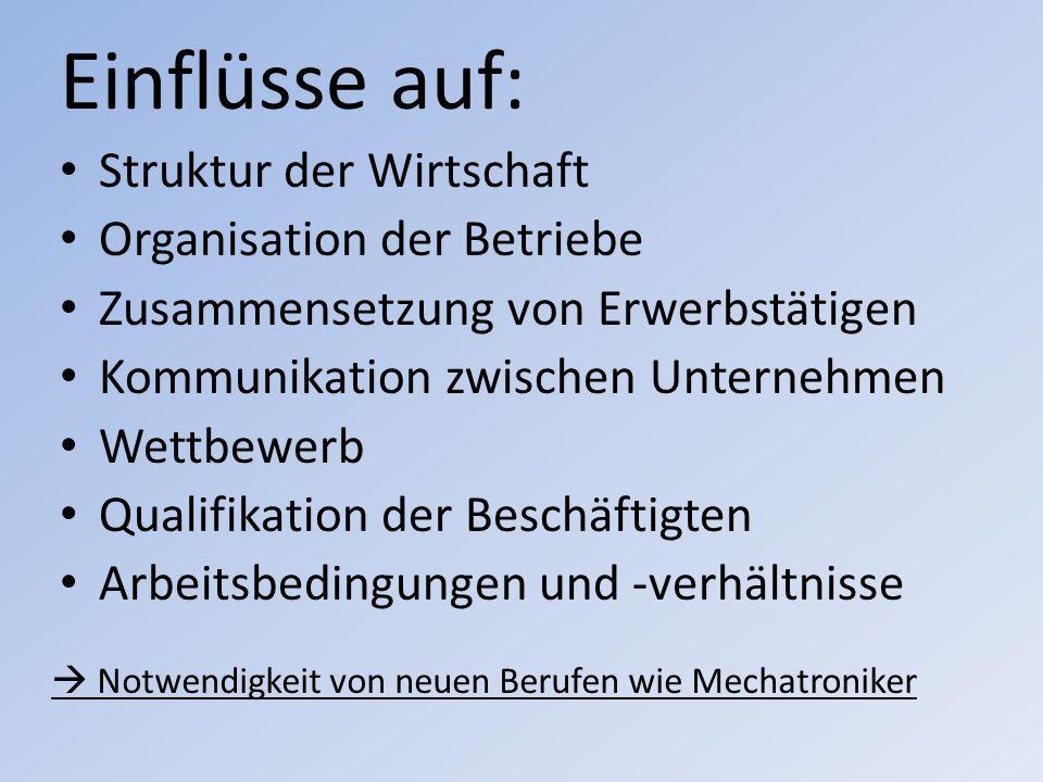 Einflüsse auf: Struktur der Wirtschaft Organisation der Betriebe Zusammensetzung von Erwerbstätigen Kommunikation zwischen Unternehmen Wettbewerb Qual