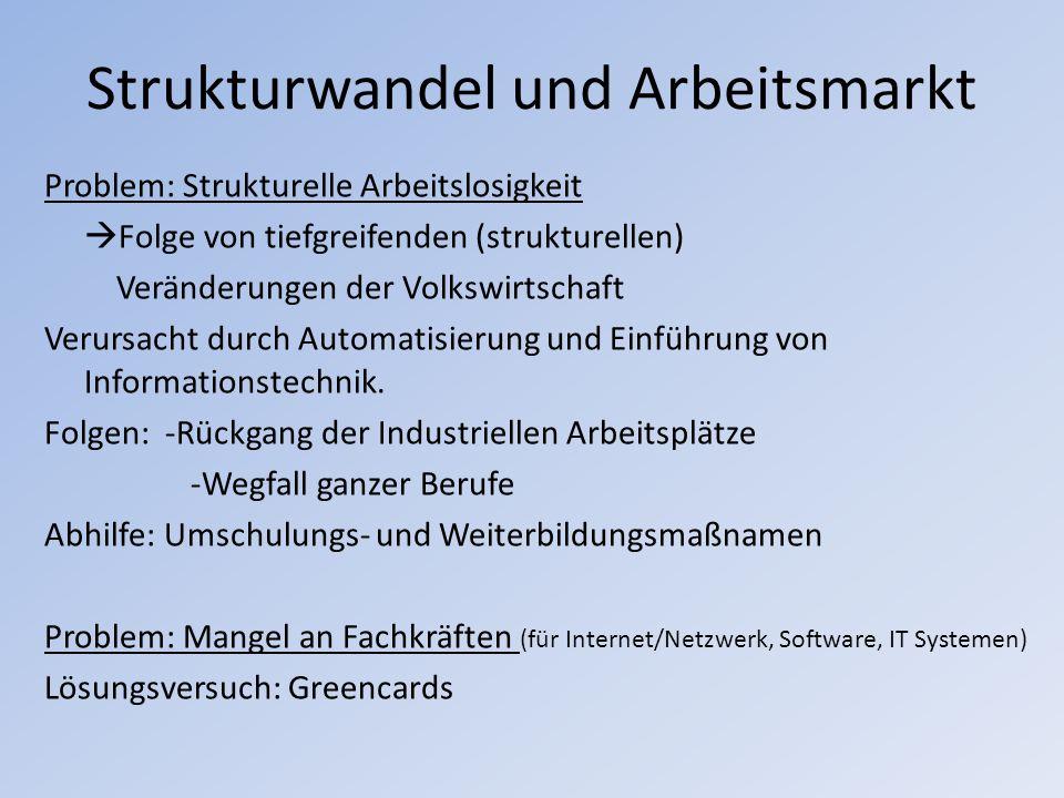 Strukturwandel und Arbeitsmarkt Problem: Strukturelle Arbeitslosigkeit Folge von tiefgreifenden (strukturellen) Veränderungen der Volkswirtschaft Veru