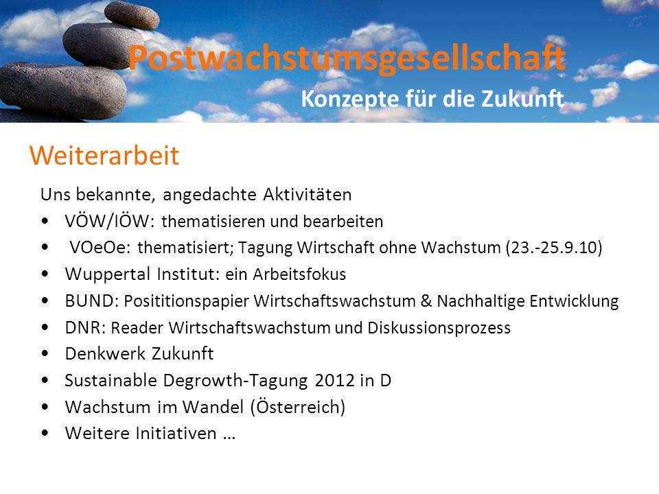 Uns bekannte, angedachte Aktivitäten VÖW/IÖW: thematisieren und bearbeiten VOeOe: thematisiert; Tagung Wirtschaft ohne Wachstum (23.-25.9.10) Wupperta