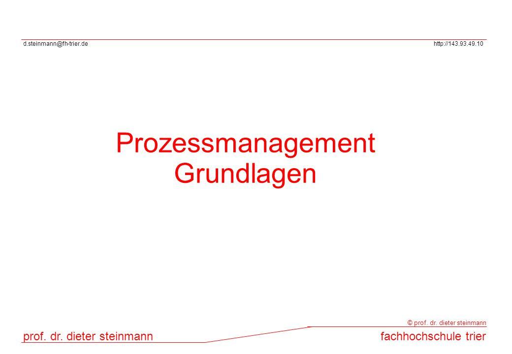 d.steinmann@fh-trier.dehttp://143.93.49.10 prof. dr. dieter steinmannfachhochschule trier © prof. dr. dieter steinmann Prozessmanagement Grundlagen