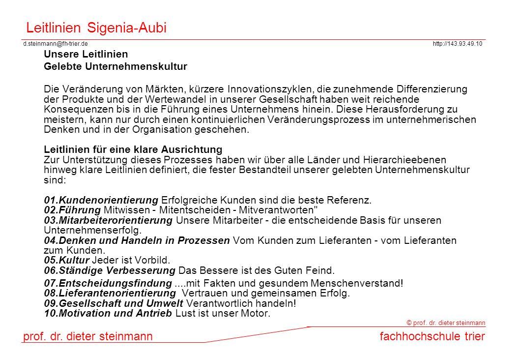 d.steinmann@fh-trier.dehttp://143.93.49.10 prof. dr. dieter steinmannfachhochschule trier © prof. dr. dieter steinmann Leitlinien Sigenia-Aubi Unsere