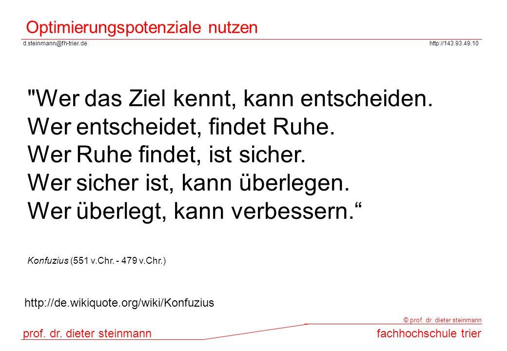 d.steinmann@fh-trier.dehttp://143.93.49.10 prof. dr. dieter steinmannfachhochschule trier © prof. dr. dieter steinmann Optimierungspotenziale nutzen