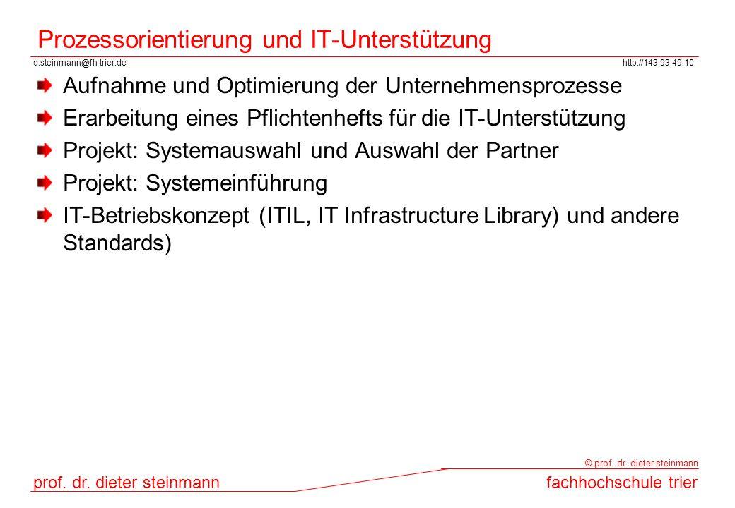 d.steinmann@fh-trier.dehttp://143.93.49.10 prof. dr. dieter steinmannfachhochschule trier © prof. dr. dieter steinmann Prozessorientierung und IT-Unte