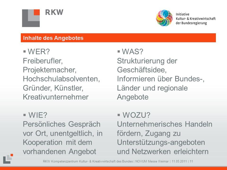 RKW Kompetenzzentrum Kultur- & Kreativwirtschaft des Bundes   NOVUM Messe Weimar   11.05.2011   11 WER? Freiberufler, Projektemacher, Hochschulabsolve