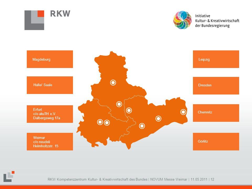RKW Kompetenzzentrum Kultur- & Kreativwirtschaft des Bundes   NOVUM Messe Weimar   11.05.2011   12 Magdeburg Halle/ Saale Erfurt c/o akuTH e.V. Dalber