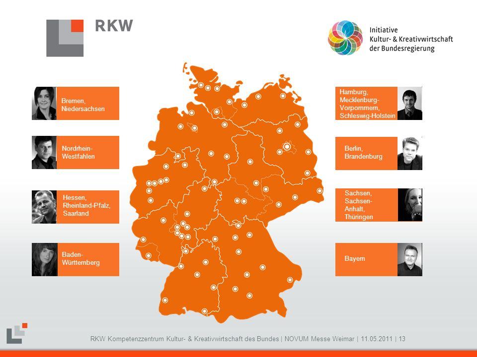 RKW Kompetenzzentrum Kultur- & Kreativwirtschaft des Bundes   NOVUM Messe Weimar   11.05.2011   13 Bremen, Niedersachsen Nordrhein- Westfahlen Hessen,