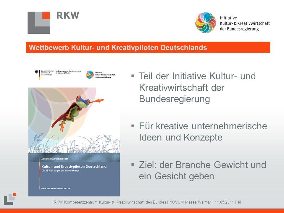 RKW Kompetenzzentrum Kultur- & Kreativwirtschaft des Bundes   NOVUM Messe Weimar   11.05.2011   14 Teil der Initiative Kultur- und Kreativwirtschaft d