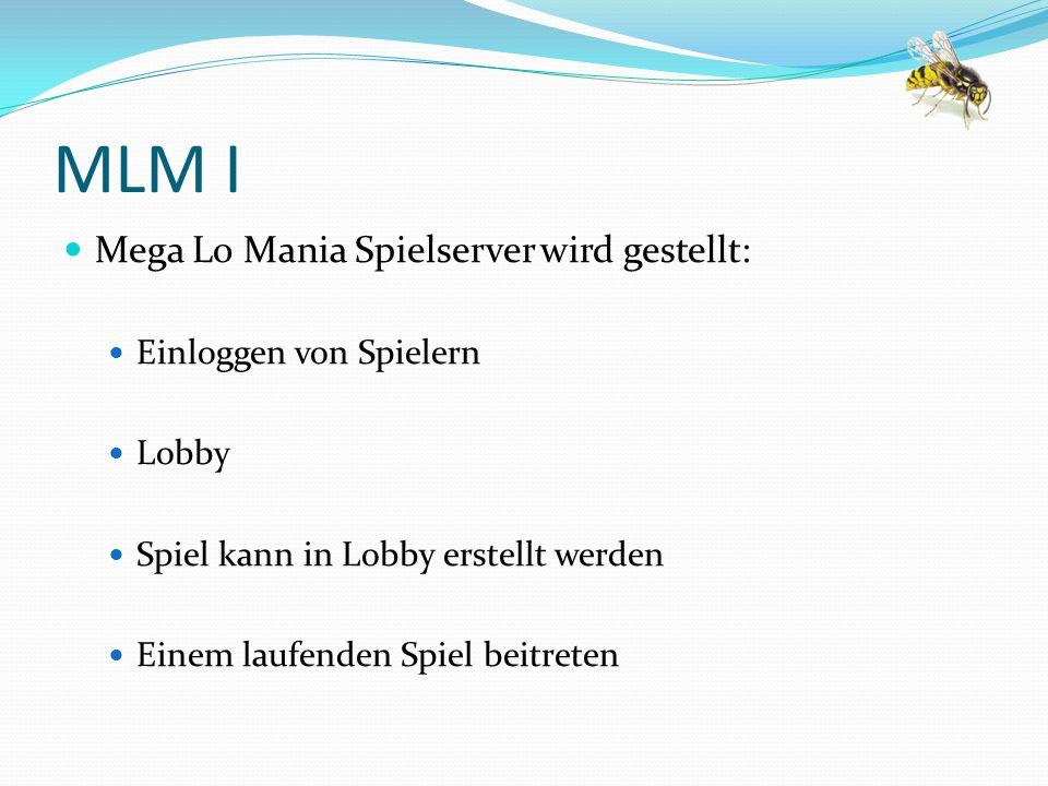 MLM I Mega Lo Mania Spielserver wird gestellt: Einloggen von Spielern Lobby Spiel kann in Lobby erstellt werden Einem laufenden Spiel beitreten
