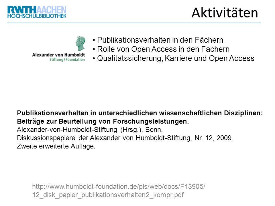 Aktivitäten Publikationsverhalten in den Fächern Rolle von Open Access in den Fächern Qualitätssicherung, Karriere und Open Access http://www.humboldt