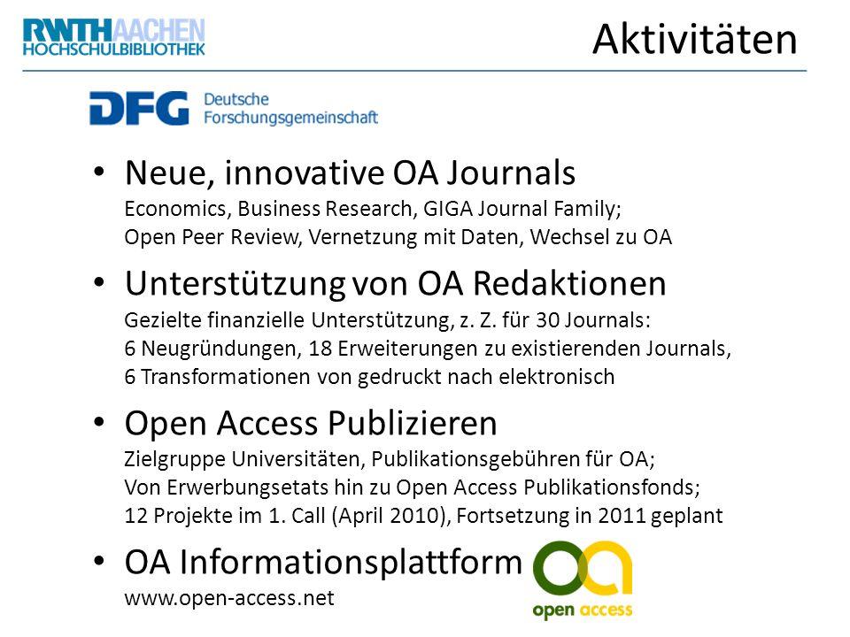 Aktivitäten Neue, innovative OA Journals Economics, Business Research, GIGA Journal Family; Open Peer Review, Vernetzung mit Daten, Wechsel zu OA Unte