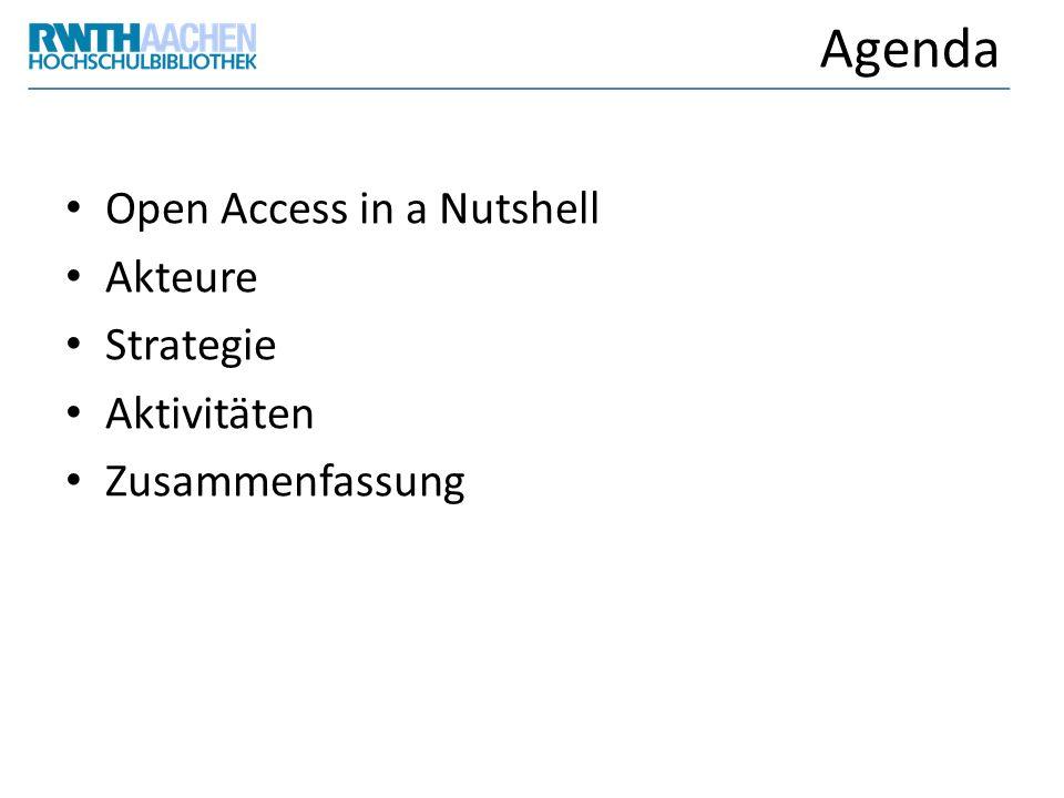 Agenda Open Access in a Nutshell Akteure Strategie Aktivitäten Zusammenfassung