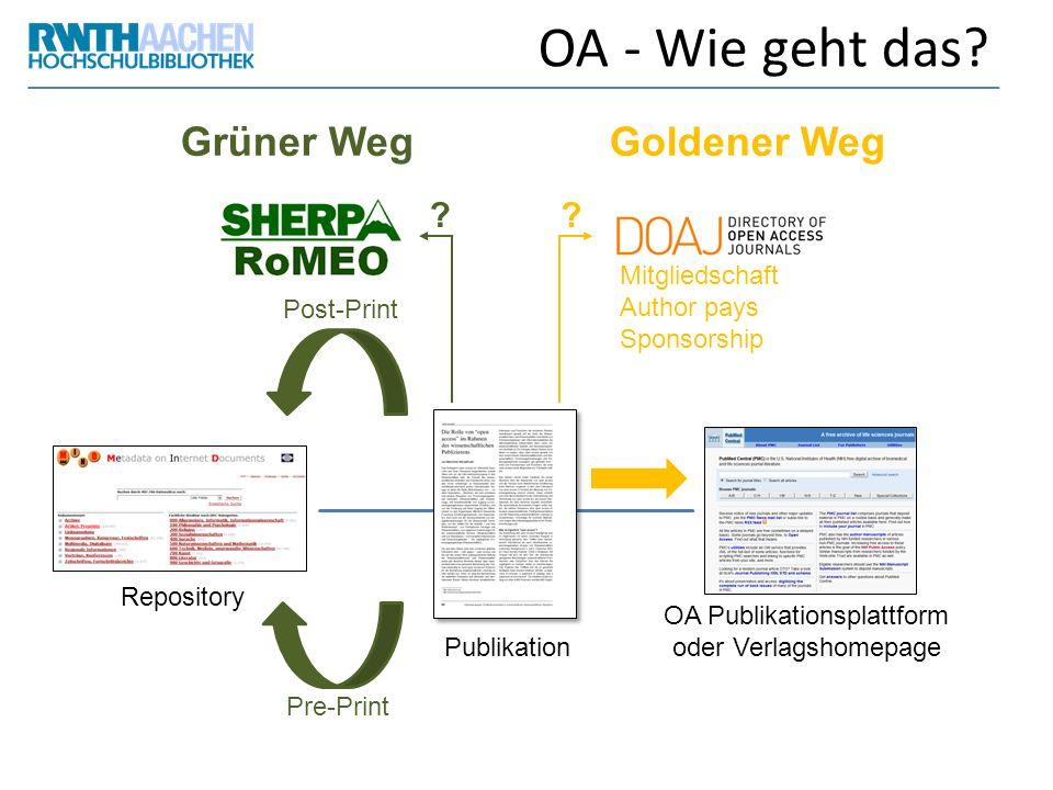 OA - Wie geht das? Grüner WegGoldener Weg Publikation Pre-Print Post-Print Repository ? OA Publikationsplattform oder Verlagshomepage Mitgliedschaft A