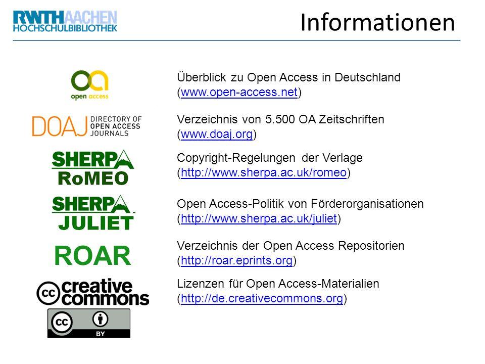 Informationen Überblick zu Open Access in Deutschland (www.open-access.net)www.open-access.net Verzeichnis von 5.500 OA Zeitschriften (www.doaj.org)ww