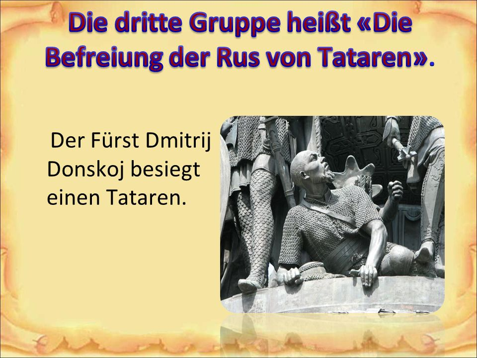 Der Fürst Dmitrij Donskoj besiegt einen Tataren.